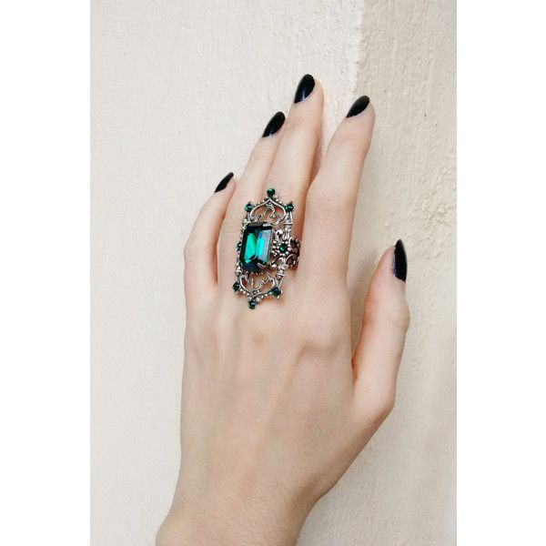 Green Gothic Ring with Emerald Swarovski Crystal on Oxidized Silver... ($45) ❤ liked on Polyvore featuring jewelry, rings, emerald green jewelry, victorian ring, emerald jewelry, emerald filigree ring and gothic rings