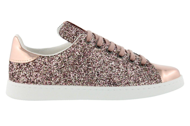 Sneaker de Victoria en glitter métallisé avec relief et bout