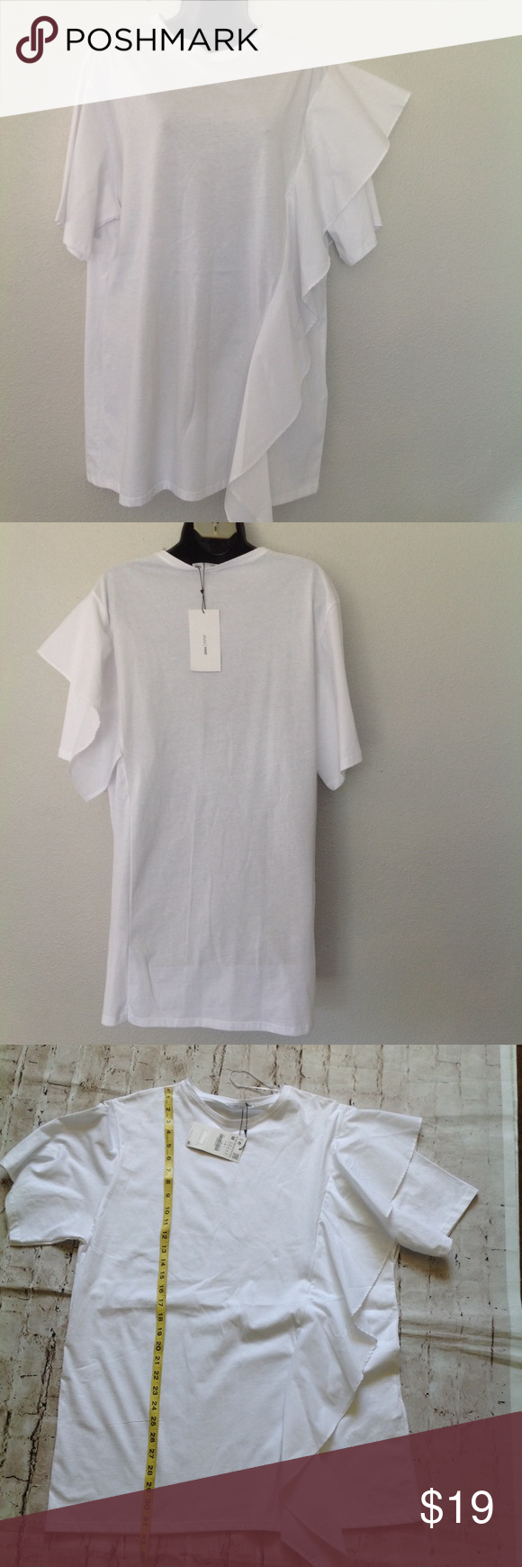 Supper cut long t shirt with one side ruffles nwt ruffles