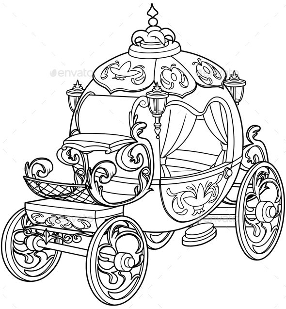 Cinderella Carriage Coloring Page Birthday Coloring Page Carriage