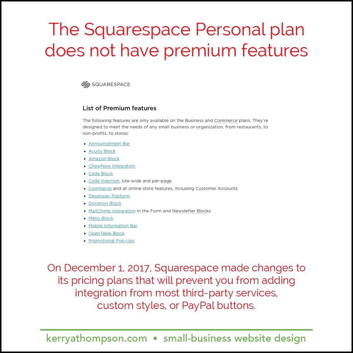 Important Squarespace features for small businesses are
