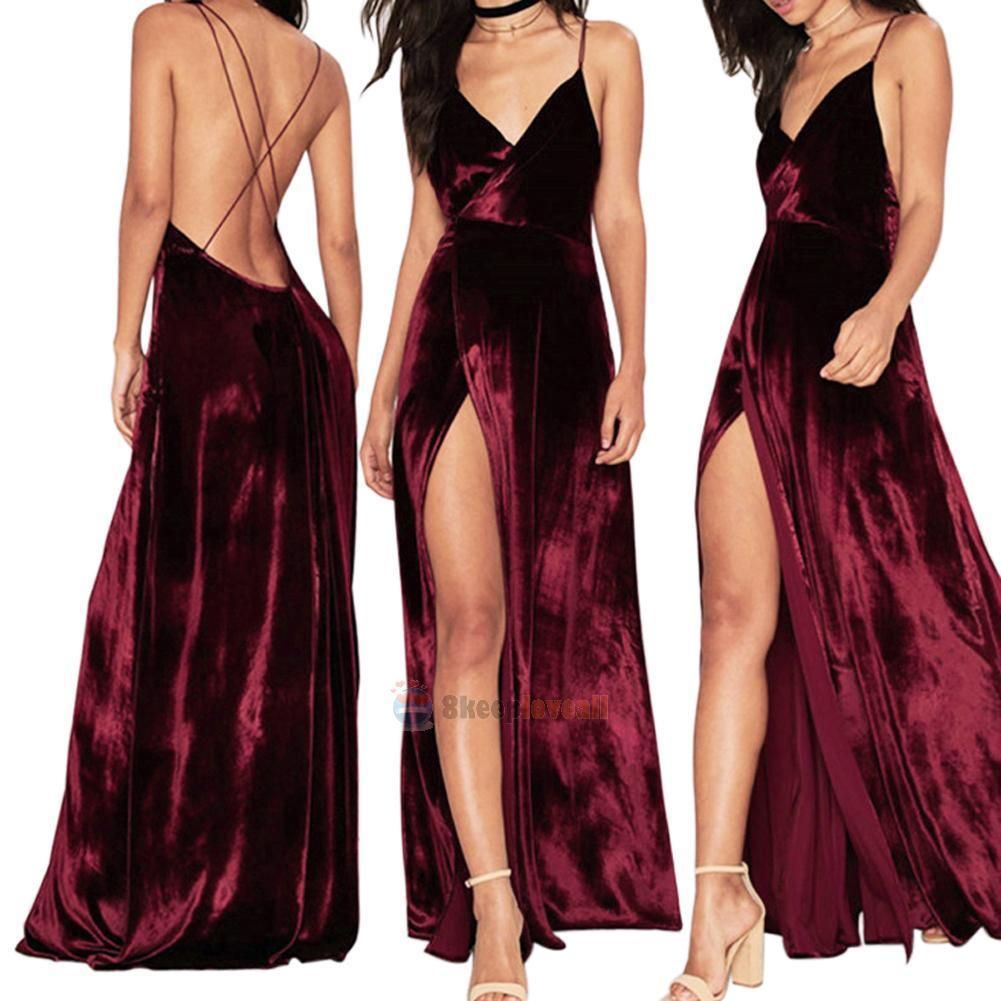 Sexy ladies long velvet bridesmaid evening formal party cocktail