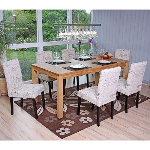 Set 6x sedie Littau tessuto per sala da pranzo 43x56x90cm http://www ...
