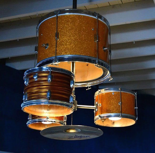 Chandelier Made From A Complete Drum Kit Decoist Music Themed Decor Music Studio Room Old Musical Instruments