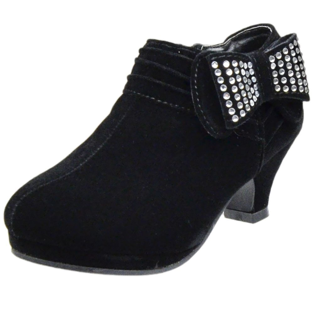 c6012c3bd95e Kids Ankle Boots Rhinestone Embellished Bow High Heel Booties Black Youth