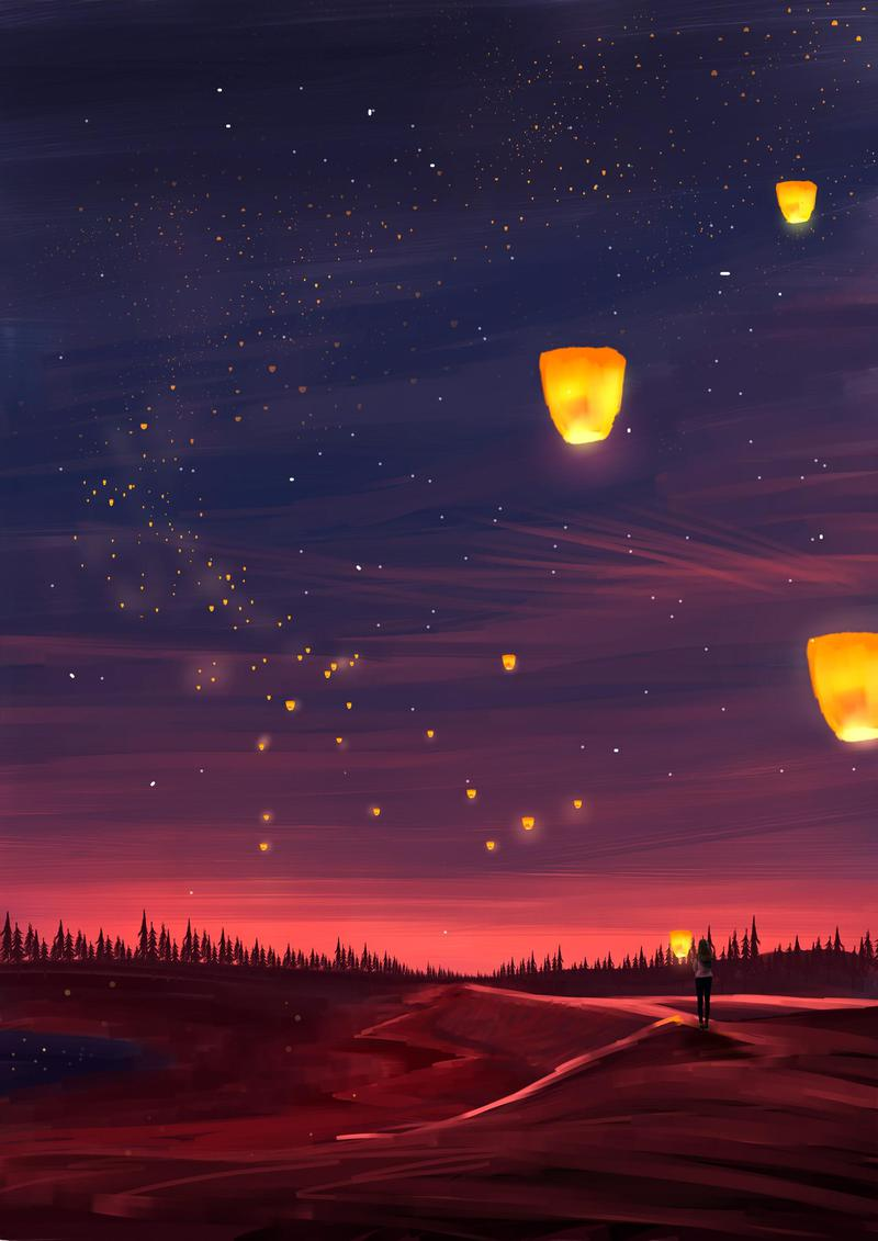 Wallpaper Day Lanterns Art Lights Night Dark For Hd 4k Wallpaperday For Desktop Mobile Phones Fr In 2020 Scenery Wallpaper Anime Scenery Wallpaper Sky Lanterns
