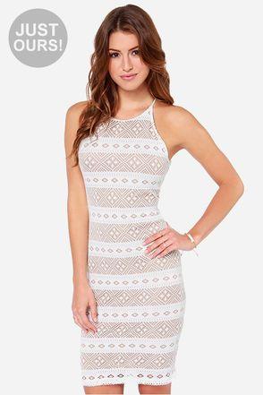 LULUS Exclusive Mesh-ing Around Ivory Lace Dress