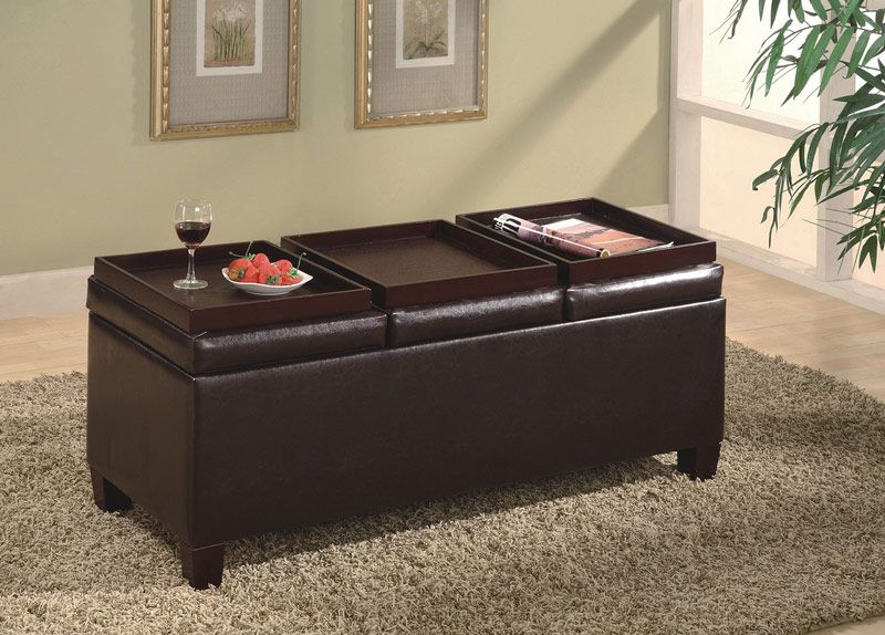 501036 Brown Vinyl Storage Ottoman Coffee Table With Trays | New ...