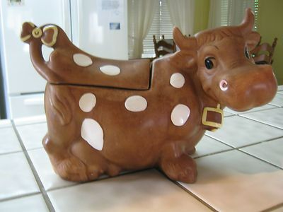 Vintage cow cookie jar twin winton daisy