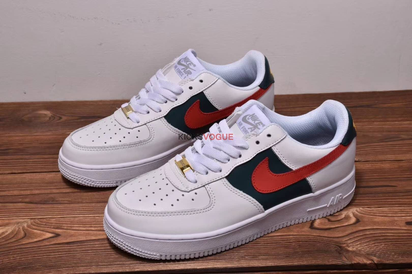 Custom Gucci Air Force 1 Low Red and Green Stripes Nike