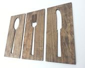 Kitchen Art Fork Spoon Knife Wooden Wall Plaques Modern Home Decor