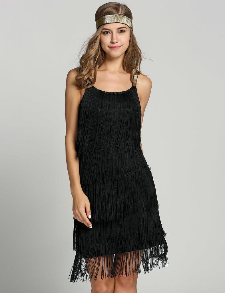 Schwarz 11er fringe große gatsby kleid mit gürtel  Gatsby kleid