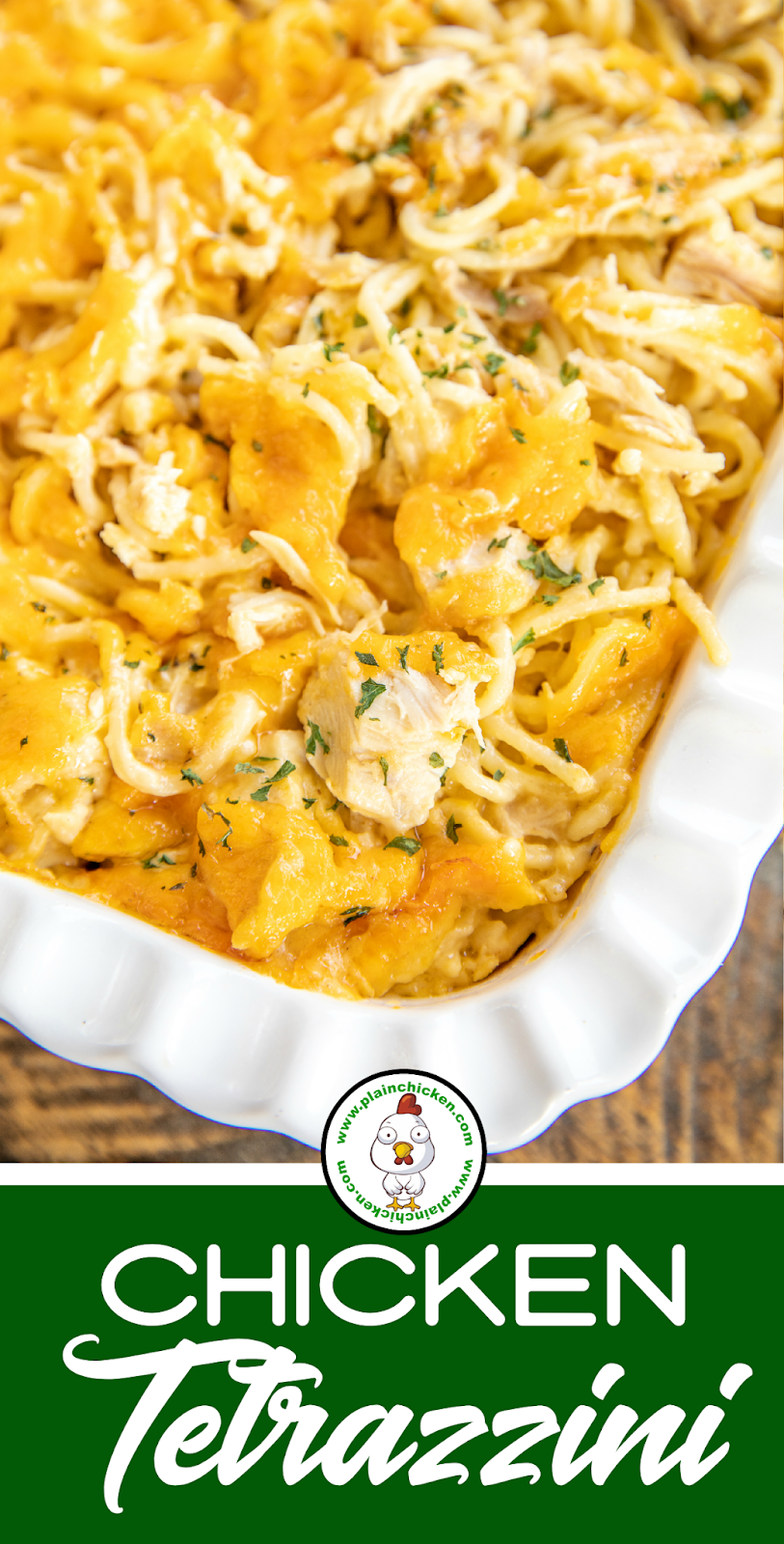 Cheesy Chicken Tetrazzini - comfort food at its best! Chicken and spaghetti baked in a homemade cheese sauce. So easy to make and the whole family loved it! Chicken, spaghetti, butter, flour, milk, cheddar cheese, cream of chicken soup, garlic powder, Worcestershire sauce, salt, and pepper. Can add bell pepper, pimentos, green peas, or spinach to the casserole. Can make in advance and freeze for later. #casserole #chicken #spaghetti #cheddarcheese