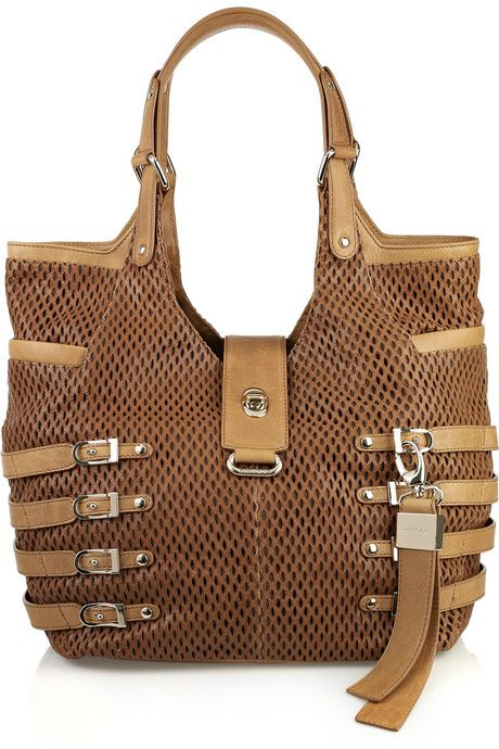 Jimmy Choo Bree Large Perforated Leather Bag