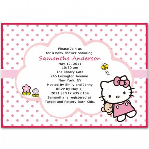 polka dots hello kitty baby girl shower invitations cards