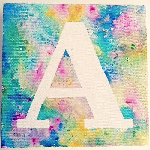 8 kids 39 name or monogram art print ideas pinterest for Painting ideas for 4 year olds