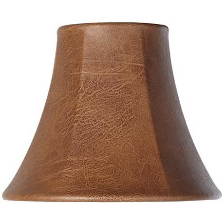 Brown Faux Leather Lamp Shade 3x6x5 Clip On Y1843 Lamps