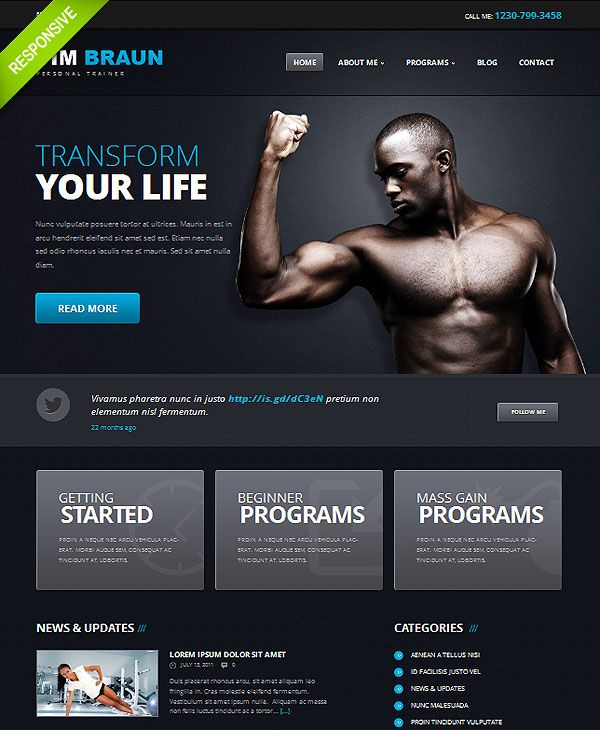 darker background with bright lettering personal trainer wordpress