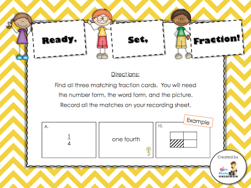 Day 15 Freebie - Ready, Set, Fraction! (students will match the number form of each fraction to the word and picture form; a recording sheet and answer key are included)