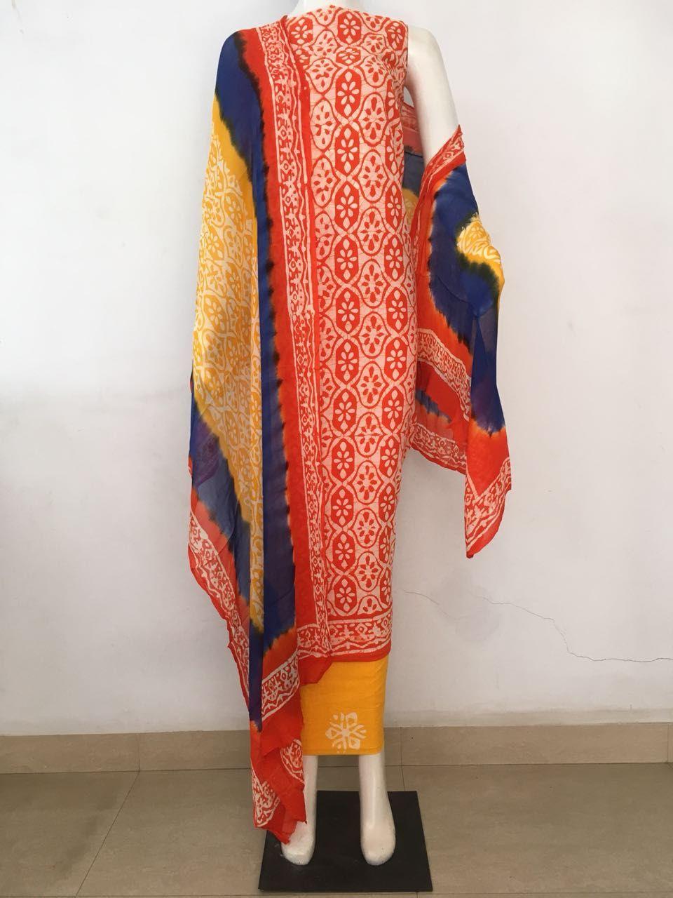 9afc9c9f6c Exclusive Batik Dress material With pure chiffon dupatta ( 3 pc set ...