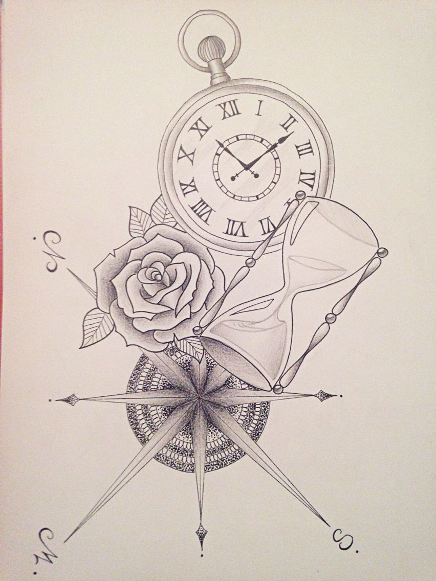Boussole Rose Sablier Montre Times Pinterest Tattoos