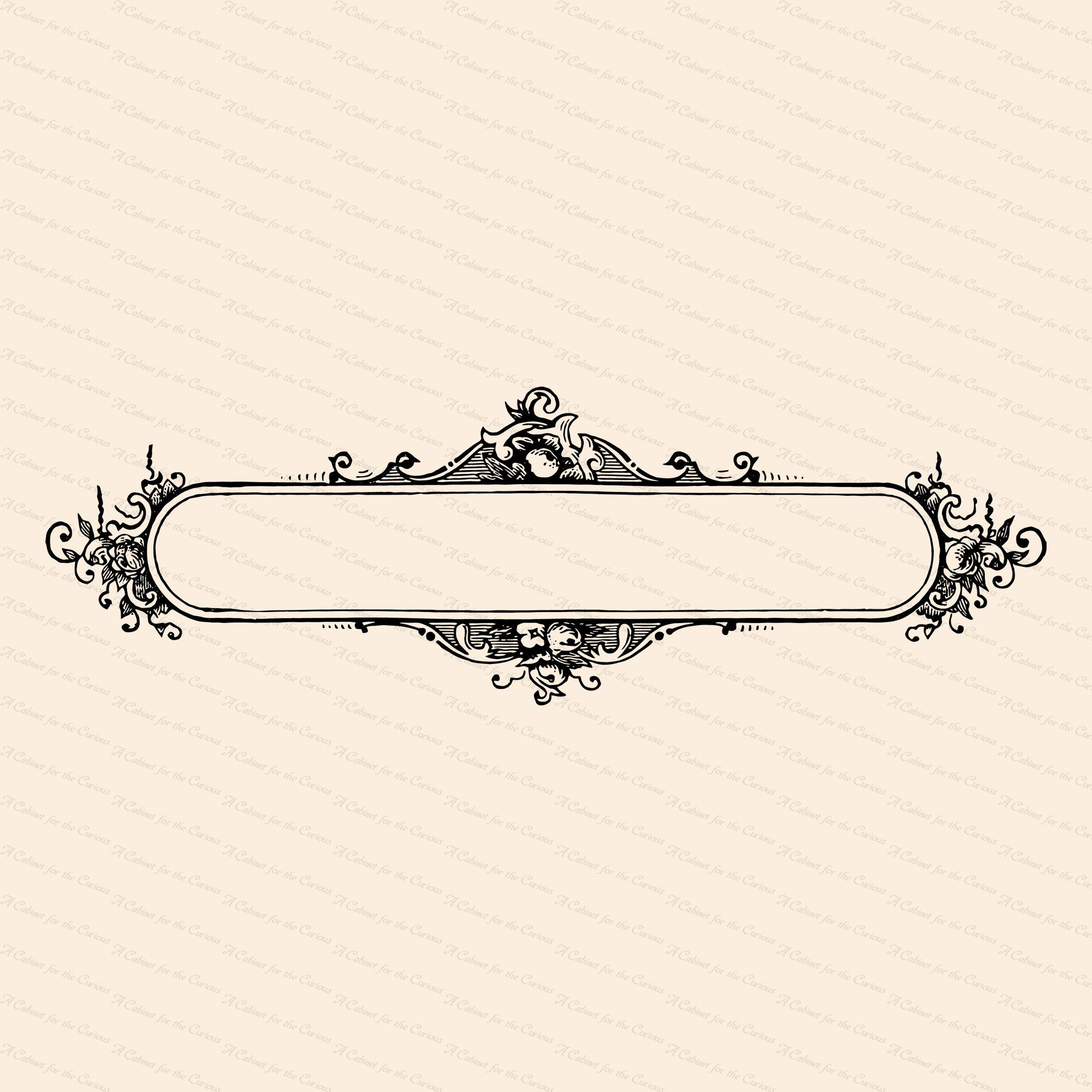 Vintage Fancy Title Border Element With Roses Antique Victorian Long Oval Floral Header Frame Vector Clipart Svg Png Jpg In 2021 Fancy Logo Monogram Backgrounds Clip Art