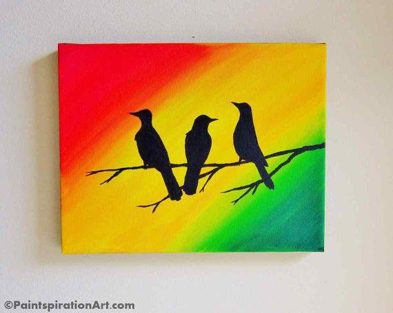 Custom Artwork Bob Marley Three Little Birds Wall Art Original ...