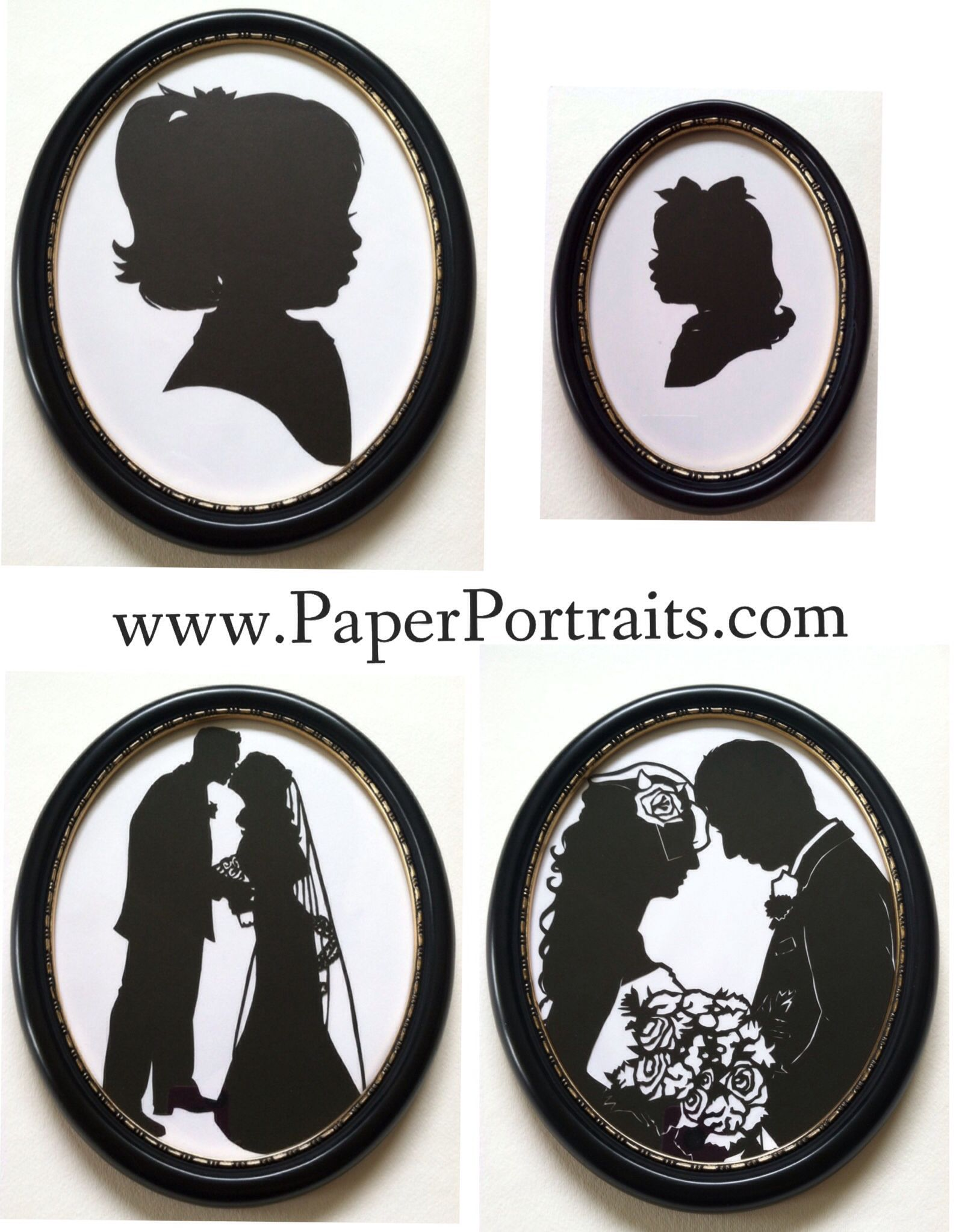 Black Silhouette frame with gold accents now available at www.paperportraits.com . 5x7 and 8x10 sizes. Silhouettes are hand cut with scissors and French Silhouette paper. Copyright owned by Silhouette Artist Kathryn Flocken.