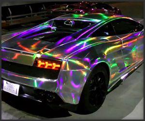 Rainbow Lambo Holographic Cars Cool Sports Cars Lamborghini Cars