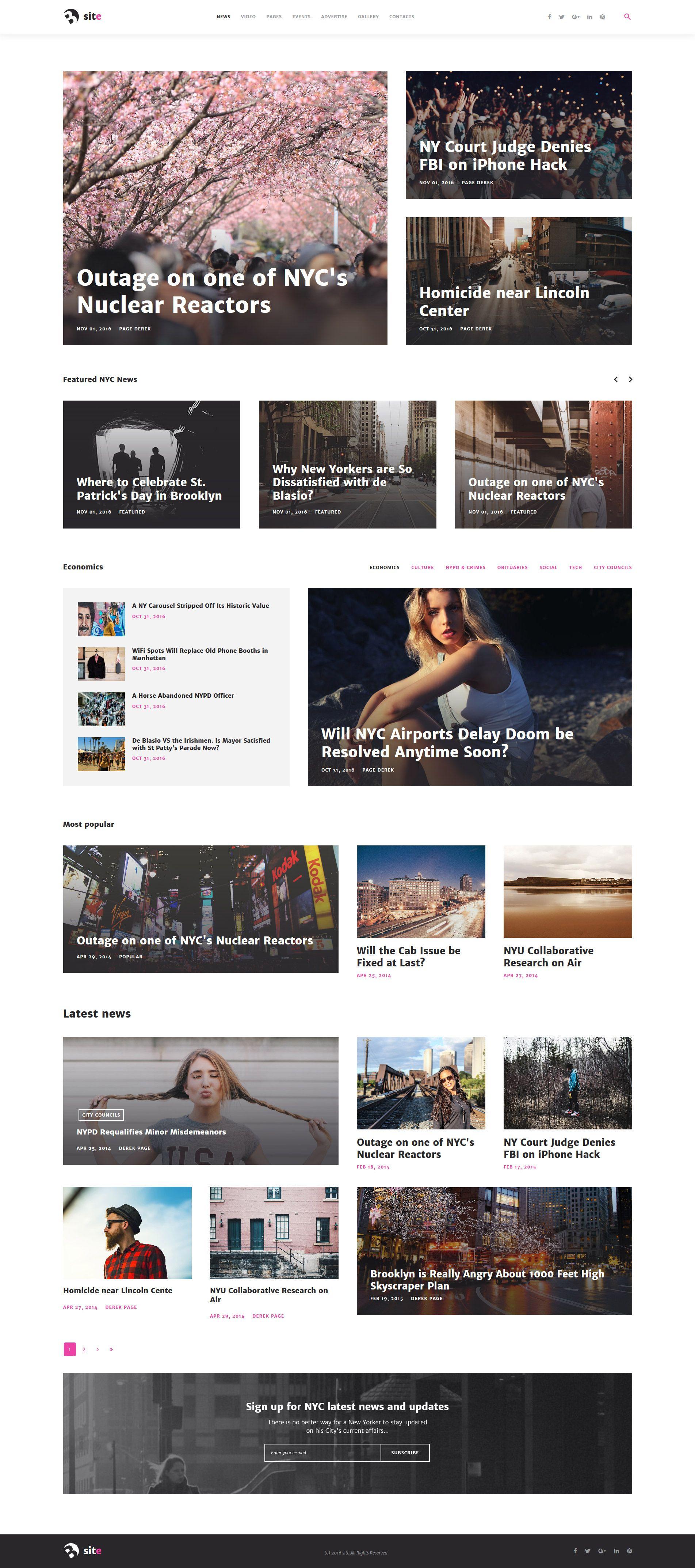 Bsite News Portal Responsive Joomla Template Pinterest - News website design template