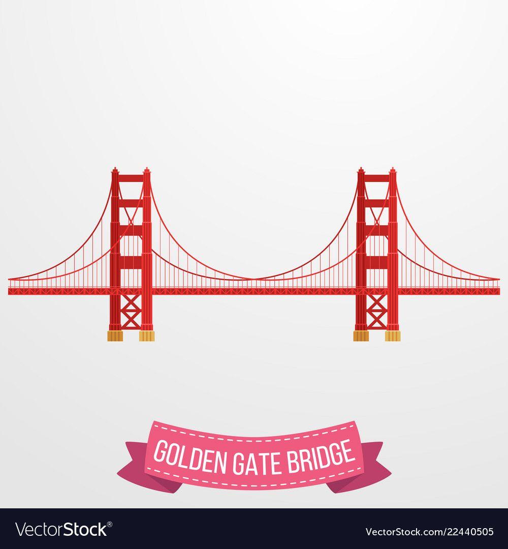 Golden Gate Bridge Icon On White Background Vector Image Bridge Icon Golden Gate Bridge Golden Gate