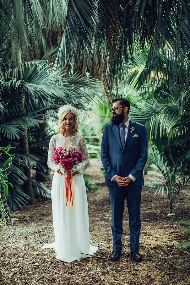 CLARE + BRENDAN // #wedding #bride #groom #dress #gown #skirt #top #karenwillisholmes #rainbow #colourful #bright #urban #flowers #bouquet #realwedding #photographer #sydney #headpiece