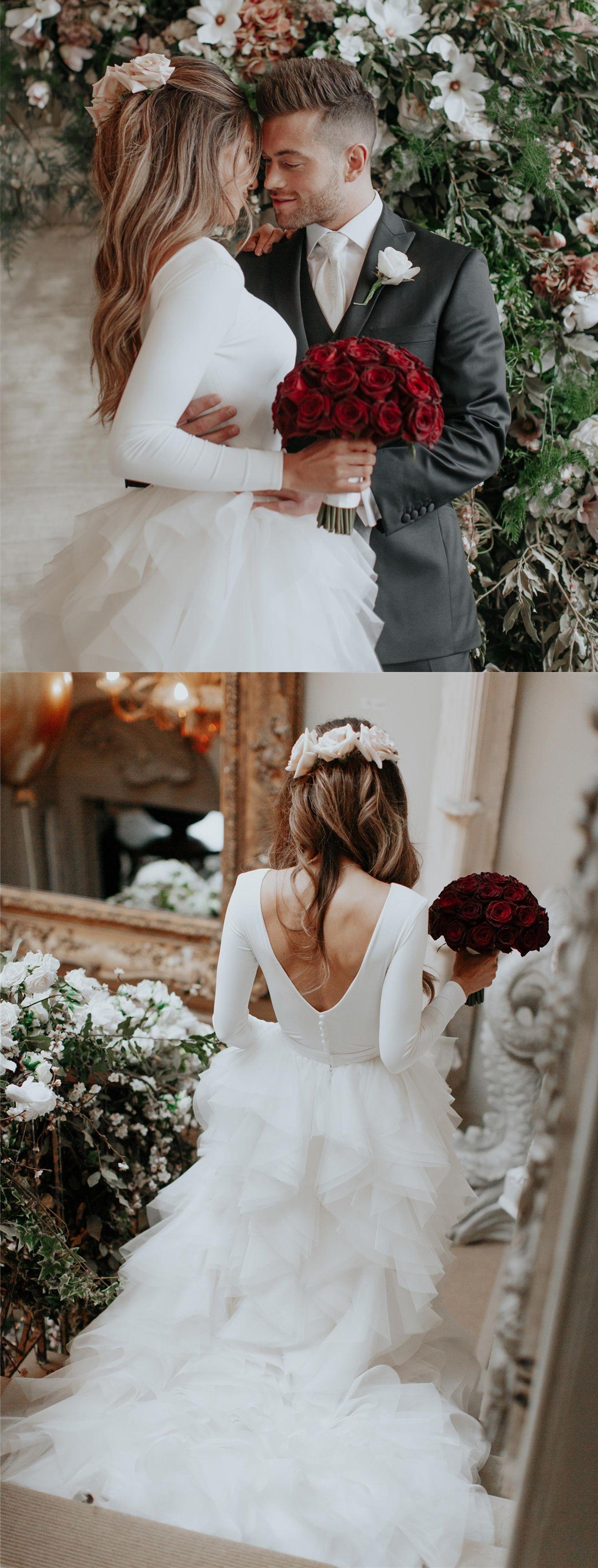 Aline bateau long sleeves sweep train tiered tulle wedding dress in