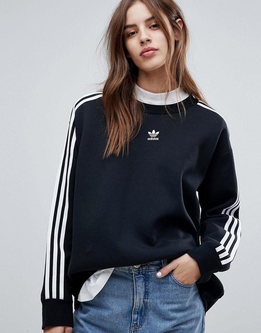 Adidas Originals Adicolor Three Stripe Sweatshirt In Black Black Fashion Adidas Fashion Hoodie Fashion [ 1110 x 870 Pixel ]