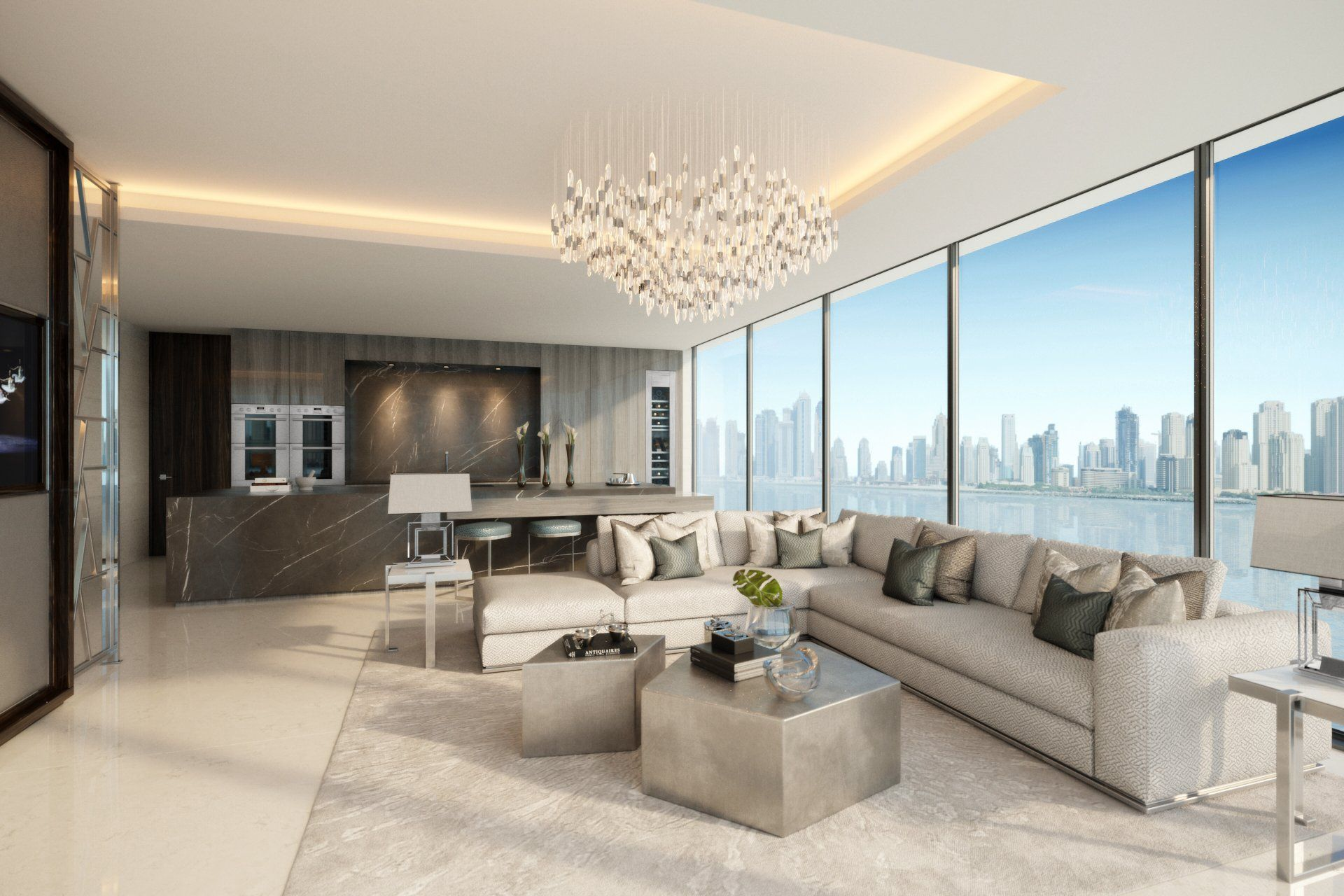 Living room design in contemporary style dubai luxury development dubai luxury development palm jumeirah