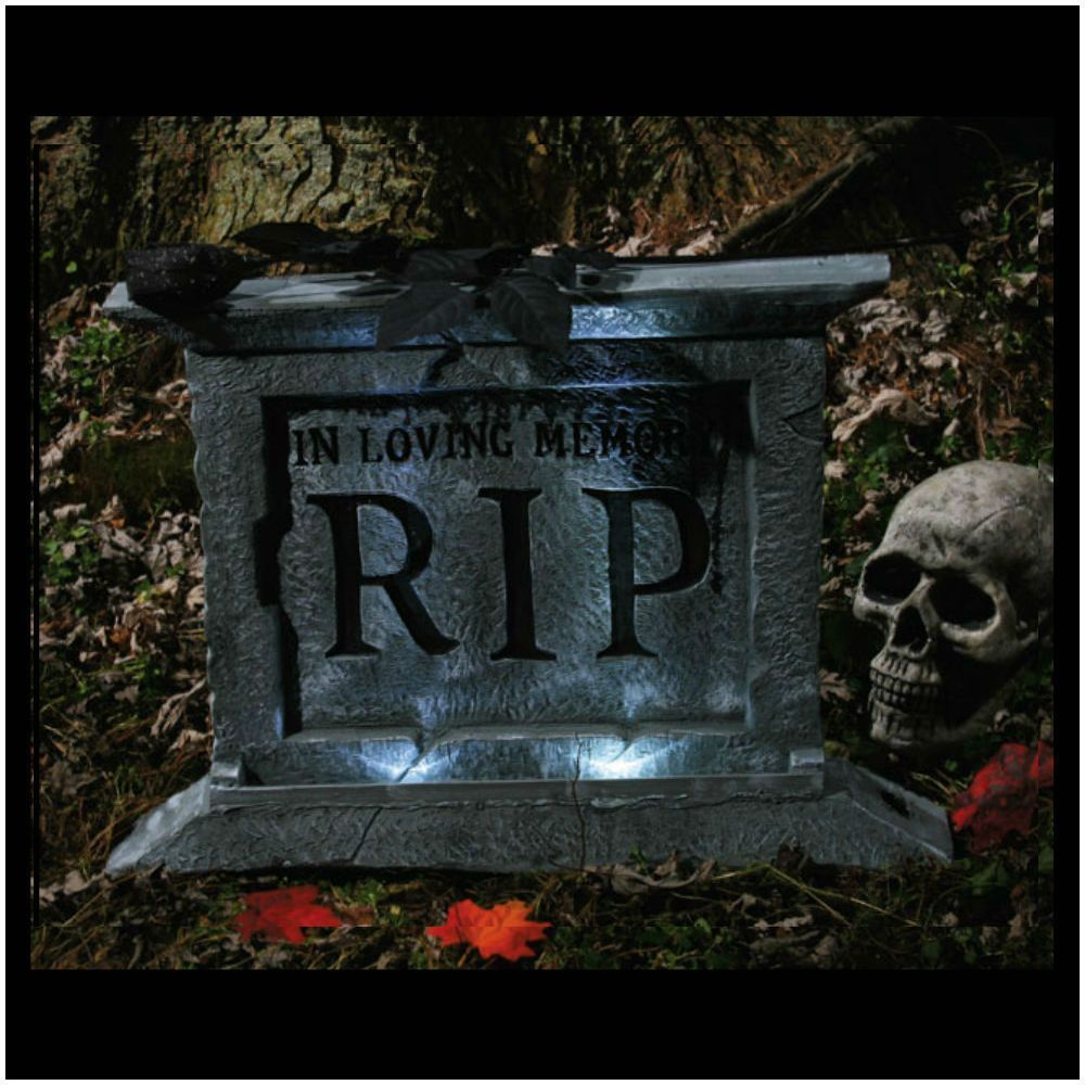 Large LIGHT UP Tombstone - Halloween Outdoor Graveyard Decoration - Halloween Graveyard Decorations