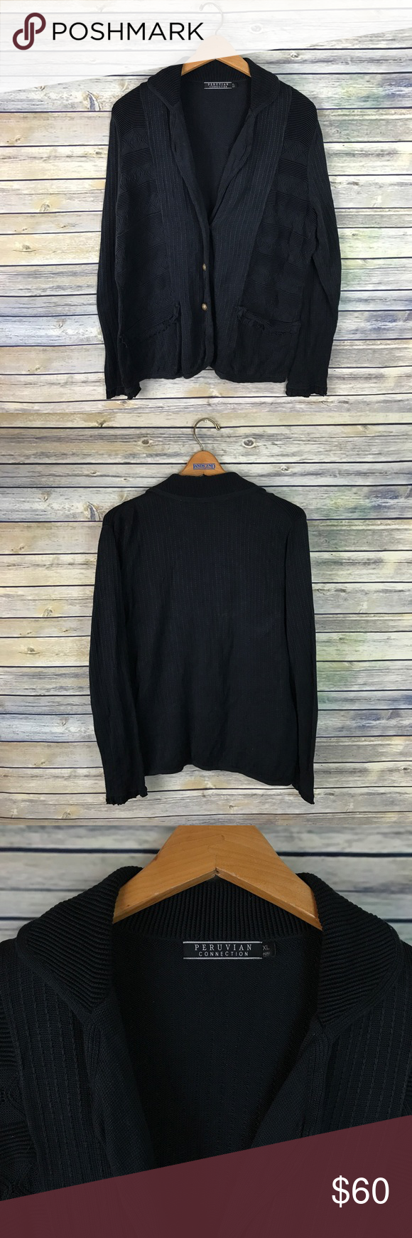 Peruvian Connection Classic Black Cardigan | Peruvian connection ...
