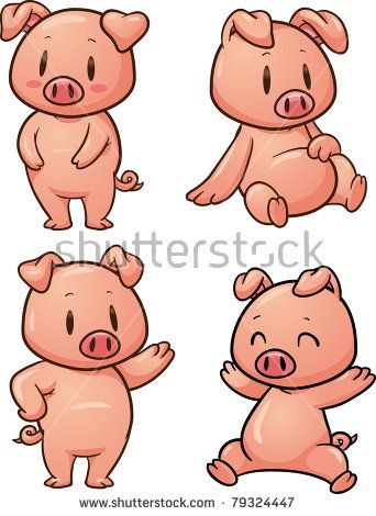 Four Cute Cartoon Pigs Vector Illustration With Simple Gradients All In Separate Layers For Easy Editing Pig Cartoon Pig Vector Pig Art
