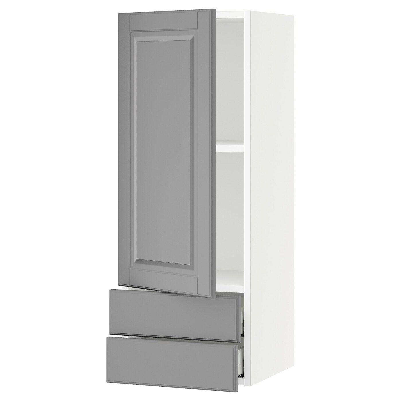 Ikea Sektion Maximera White Bodbyn Gray Wall Cabinet With Door 2 Drawers In 2020 Cabinet Doors Bathroom Wall Cabinets Ikea