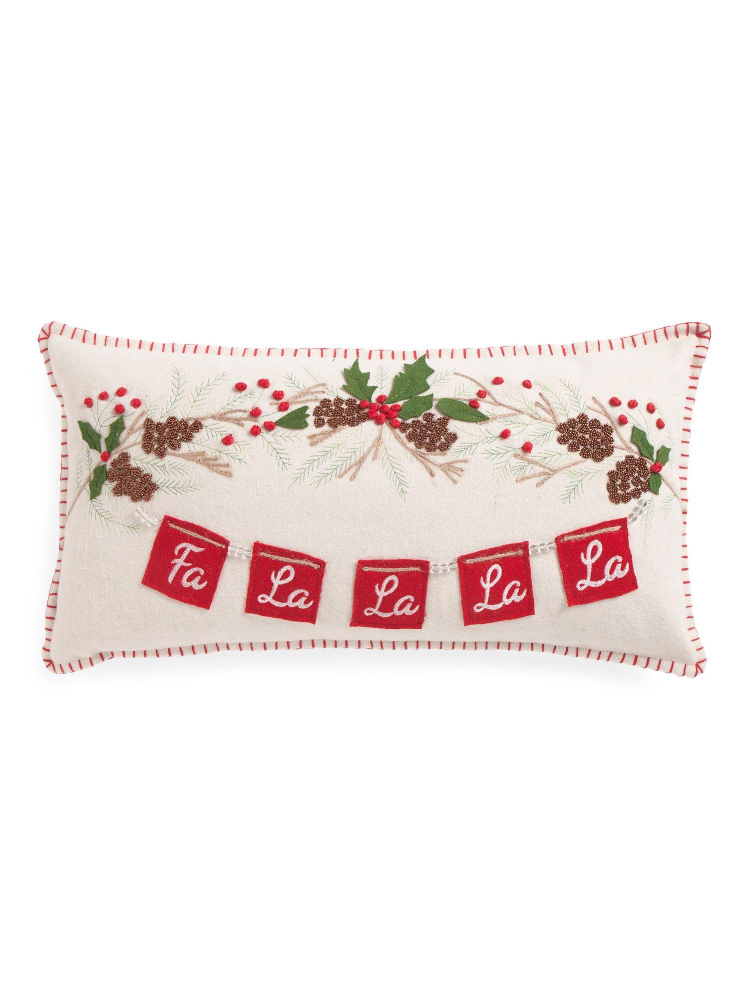 Made In India 14x26 Fa La La Pillow How To Make Christmas