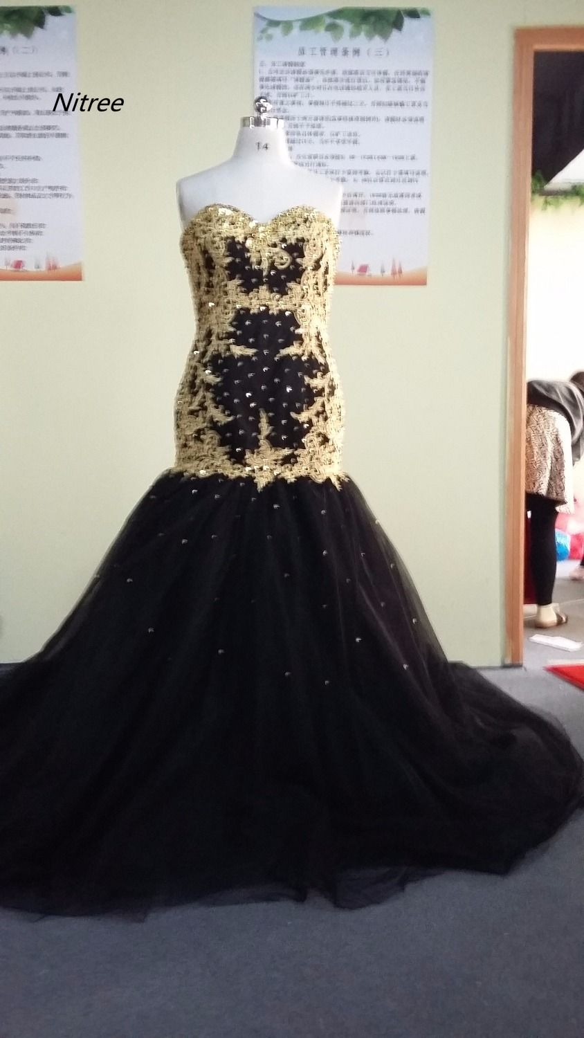 Click to buy ucuc custom made black mermaid prom dresses with gold