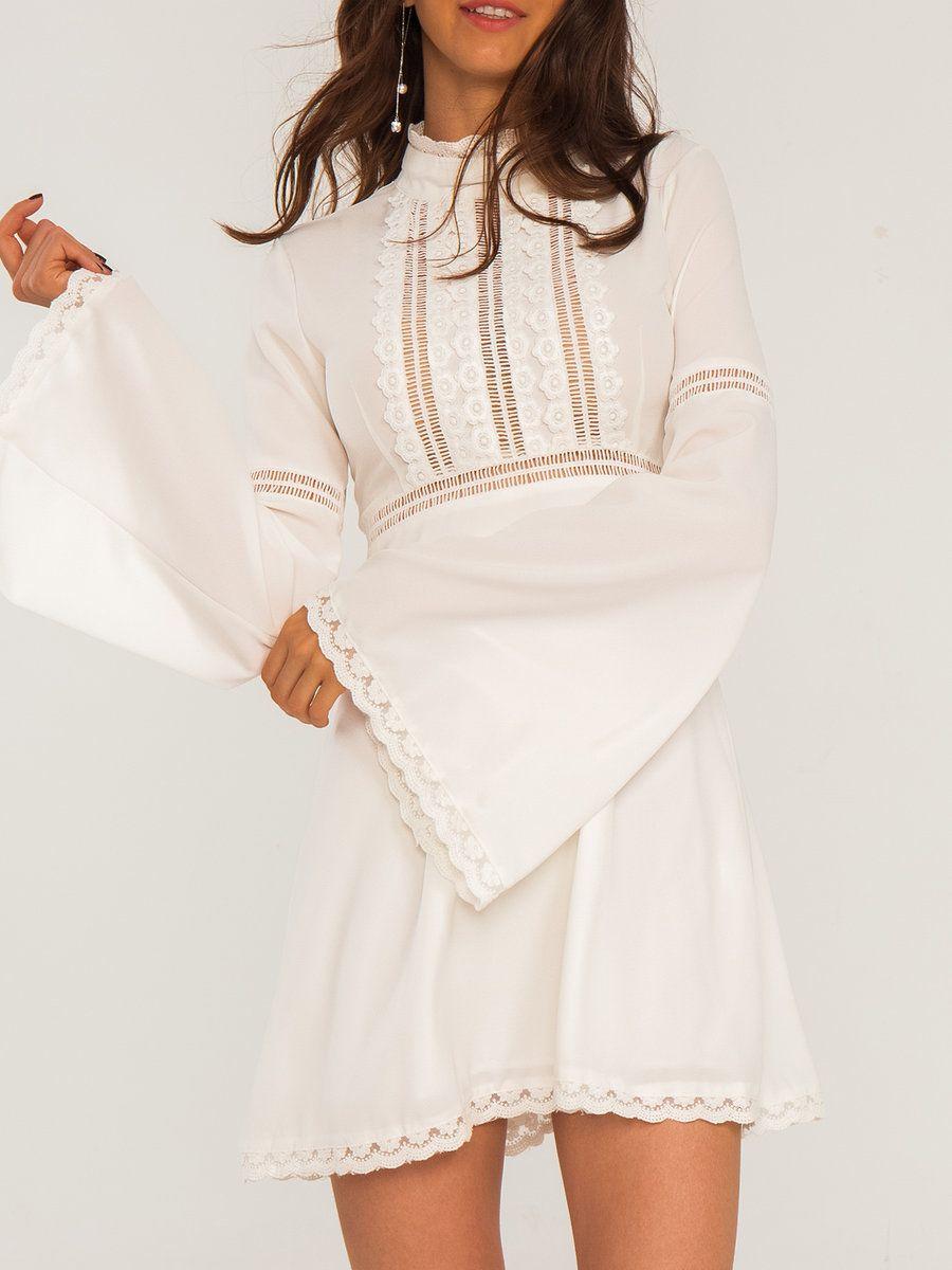 Adorewe stylewe maxi dressesdesigner cici wang white solid bell