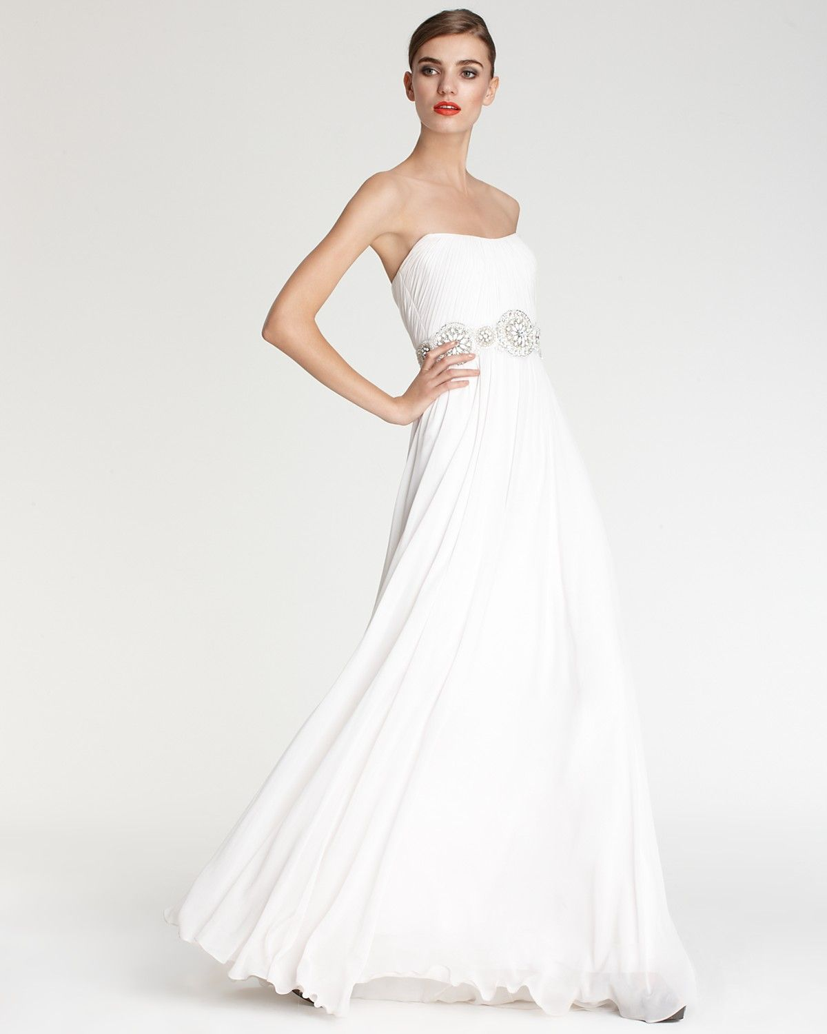 Theia Gown Embellished Waist Strapless Gown Women S Bloomingdale S Bloomingdale Dresses Strapless Gown Gowns