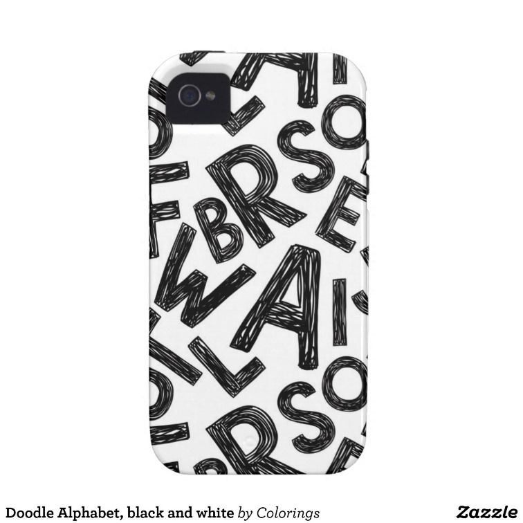 Doodle Alphabet, black and white iPhone 4 Cover #iphonecases #iphonecase