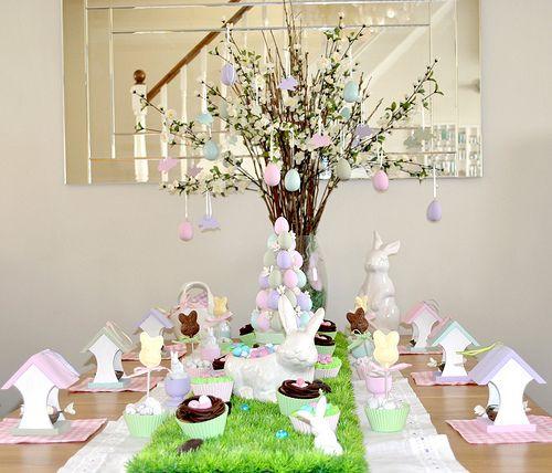 pastellfarben tischdeko gras tischl ufer ostern ostern osterbaum und tischdeko. Black Bedroom Furniture Sets. Home Design Ideas