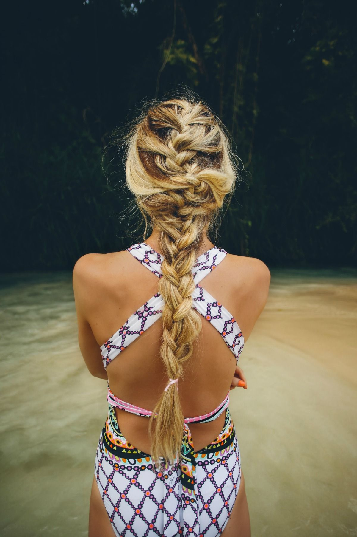 Free French braids are one of my go to styles for yoga and beach days - image via Barefoot Blonde