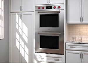 Wolf M Series Double Wall Oven In White Kitchen