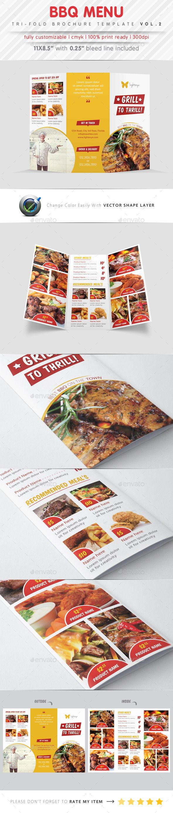 Bbq Menu Tri Fold Template  Tri Fold Food Menu And Menu