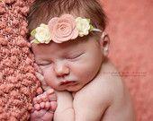 Vintage Pink and Cream Wool Felt Flower Headband - Trio of  Roses  - Newborn Baby to Adult