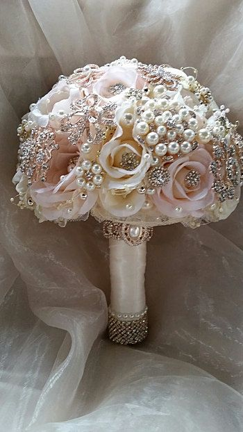 Rose Gold Brooch Bouquet Pink And Gold Brooch Bridal Bouquet
